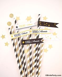 New Year's Eve Party Ideas: DIY Black, White and Gold Tablescape