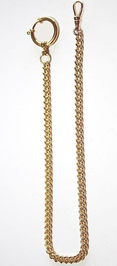 14K Gold Filled Quality Pocket Watch Chain with a Large Spring Ring - Made in USA