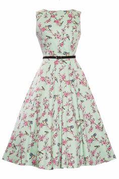 Green Birdcage Hepburn Dress : Lady Vintage