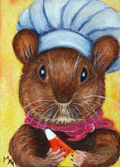 #ACEO TW OCT Original #CANDY #CORN #CHEF #Mouse Miniature #Art Animal #Halloween Cook #Miniature