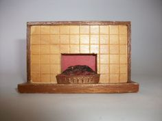 Vintage Barton Doll's House Art Deco Fireplace - wooden Tiled effect -  #D7 #Barton I love this so it is a real pity that it is 1:16 scale and not the needed 1:12! :(