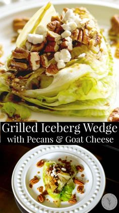 Grilled Iceberg lettuce wedge salad topped with whole pecans and crumbled Goat cheese; then drizzled with a balsamic vinaigrette. #salad Wedge Salad Recipes, Chicken Salad Recipes, Easy Salads, Healthy Salad Recipes, Pasta Recipes, Pasta Salad, Tuna Salad, Caesar Salad, Egg Salad