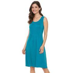 Women's Croft & Barrow® Pintuck Fit & Flare Dress, Size: