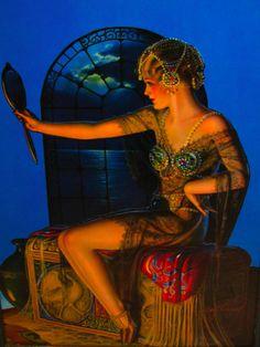 Illustration by era New York artist Gene Pressler Vintage Love, Vintage Beauty, Vintage Art, Vintage Ladies, Painting People, Mirror Art, Roaring Twenties, Silent Film, Pin Up Art