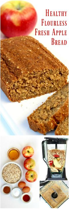 Healthy Flourless Fresh Apple Bread made without sacrificing flavor or texture. No flour needed, sweetened with honey, and loaded with fresh apples, it's quick to make and tastes so great! Gluten Free Baking, Gluten Free Desserts, Dairy Free Recipes, Flourless Bread, Flourless Desserts, Flourless Chocolate, Banana Bread Recipes, Apple Recipes, Baking Recipes
