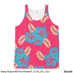 """Sunny Tropics All-Over Printed Tank Top All-Over Print Tank Top. """"Down where the palm trees sway...down where you lose a day...""""  Relax and enjoy wearing this pretty shirt featuring sky blue Hibiscus flowers and graceful palm leaves."""