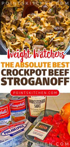 The Absolute BEST Crockpot Beef Stroganoff Recipe #beef #stroganoff #dinner #weightwatchers #weight_watchers #lowcarb #slimmingworld #ketogenic #slowcooker #crockpot