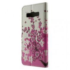 Galaxy A3 vaaleanpunaiset kukat puhelinlompakko