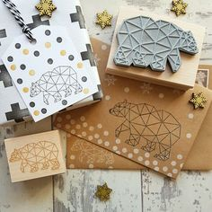 This would be nice for creating all sorts of Christmas wrapping and cards. I love the geometric polar bear design of the stamp.