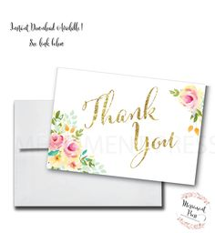 Watercolor Floral Thank You Card // Folded Thank You // Peach // Mint // Pink // Yellow//Gold Glitter//Printed// MALIBU COLLECTION by MerrimentPress on Etsy https://www.etsy.com/listing/267048673/watercolor-floral-thank-you-card-folded