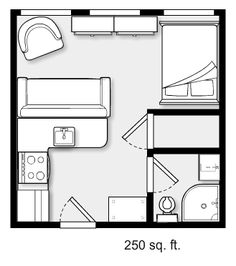 I would change from a comfortable two seater and chair to three more basic chairs, two which are used at the kitchen for eating. Storage seems a problem here, and where do you put the tv (over the cabinets at the window)? Studio Apartment Floor Plans, Studio Apartment Layout, Apartment Design, Small Floor Plans, Small House Plans, House Floor Plans, Tiny Spaces, Small Apartments, Casas Containers