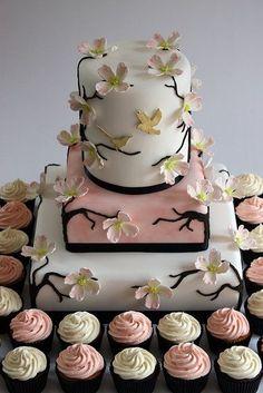 Dogwood Blossom Wedding Cake with Cupcakes. Dogwood Blossom Wedding Cake with Cupcakes. Gorgeous Cakes, Pretty Cakes, Cute Cakes, Amazing Cakes, Wedding Cakes With Cupcakes, Wedding Cake Decorations, Cupcake Cakes, Cupcake Wedding, Cupcake Tree
