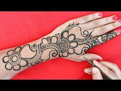 Very Simple Mehndi Designs, Back Hand Mehndi Designs, Mehndi Designs For Hands, Mehandi Designs, Mehndi Tattoo, Mehndi Art, Design Youtube, Finger Henna, Mehndi Patterns