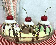 Banana Split Casserole Dessert RECIPE | Etsy Chocolate Eclair Dessert, Chocolate Syrup, No Bake Desserts, Dessert Recipes, Baked Banana, Crushed Pineapple, Cool Whip, Hot Fudge, Fake Food