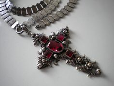 Victorian Silver Gilt and Red Paste Cross by eclecticappealjewels, $395.00
