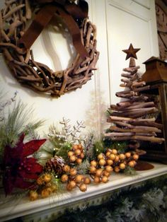 [Decoration] : Awesome Christmas Decor Ideas With Rustic Style Along With Fireplace Also Cinnamon Decorating Also Gold Ball Ornament Also Red Floral Inspiring Decor Ideas