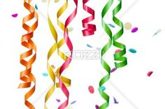 streamers and confetti decorations. - Close-up shot of multi colored confetti and streamers over plain white background.