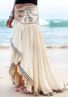 Beige Asymmetric Bohemian Maxi Skirt - Skirts - Bottoms