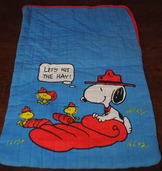 "Vintage  SNOOPY BEAGLE SCOUT Sleeping Bag Toy for 18"" Plush  & Sleep Cap RARE"