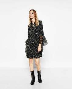 Image 1 of PRINTED DRESS WITH FRILLS from Zara