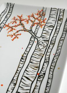 MaryElizabethArts - Large Birch Trees Personalized Wedding and Anniversary Platter. Hand-Painted.