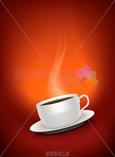 stock photo of a vector illustration of a beautiful cup of coffee on a red background