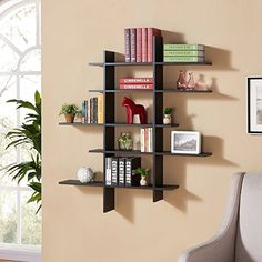 Danya B Five Level Black Asymetric Wall Shelf -- Continue to the product at the image link. Note: It's an affiliate link to Amazon.