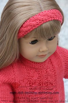 Doll dress knitting pattern American Girl Outfits, American Doll Clothes, Baby Hat Knitting Patterns Free, Knitted Headband, Doll Patterns, Girl Dolls, Lana, Baby Born, Tejidos