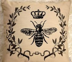 "Throw Pillow Napoleon Bee Crown French Market 18"" Chic"