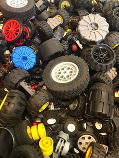 LEGO Bulk lot WHEELS 1//2 lb pound Tires Axles Car Vehicle Lots of Parts Pieces