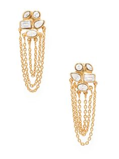 Cluster CZ & Chain Drop Earrings by Melinda Maria on Gilt.com