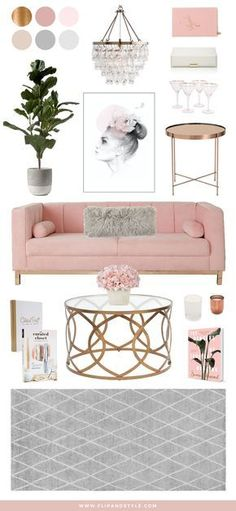 Blush Copper and Grey Home Decor Interior inspiration for a living room space interior design decor www flipandstyle com