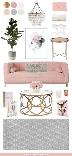 Blush, Copper and Grey Home Decor | Interior inspiration for a living room space | interior design + decor | www.flipandstyle.com