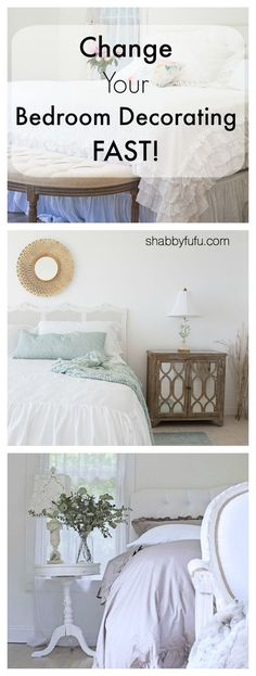 How to change your bedroom decorating fast with tips for moving the placement of your bed, changing the linens, headboard selection and more #bedroomideas #bedroomdecor #bedroomdesign