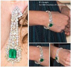 HRH Catherine, Duchess of Cambridge, Emerald and Damond earrings and bracelet set