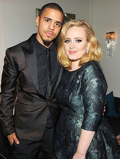 Adele and J. Cole at the Sony afterparty for the 2012 Grammys