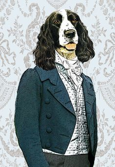 Lord Cocker Spaniel Wall Art Print Art Giclee Print Acrylic Painting Illustration Deer Print Rabbit Picture wall art