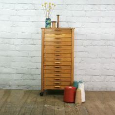 Vintage oak habedashery shop cotton chest of drawers - Mustard Vintage