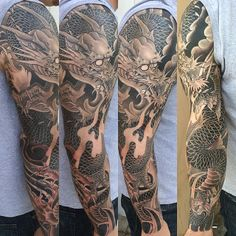 Dragon sleeve by Pete Vaca - Full Circle Tattoo - San Diego, CA. #fullcircletattoo