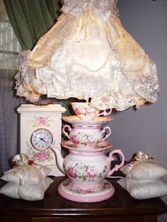 Shabby Chic Bedrooms Archives - Cute Home Designs Shabby Chic Bedrooms, Shabby Chic Cottage, Vintage Shabby Chic, Cottage Style, Teapot Lamp, Tea Wallpaper, Shabby Chic Accessories, Teacup Crafts, China Crafts