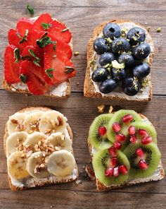 Toasts petit dej' aux fruits Whole and healthy toast for a balanced breakfast. Dog Recipes, Fruit Recipes, Easy Healthy Recipes, Healthy Cooking, Easy Meals, Vegan Recipes, Breakfast Sandwich Recipes, Breakfast Toast, Vegan Breakfast
