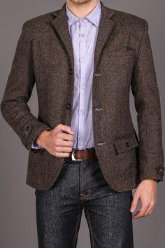 MENK Brown Herringbone Sportcoat