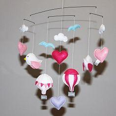 Custom girls hotair balloon and bird felt mobile. To order visit www.for-example.co.za