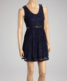 Take a look at this Navy Lace Belted Dress on zulily today!