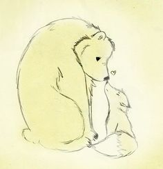 """Bear and Fox"" Drawn in pencil, colored and edited on photoshop. {Charles and I}"
