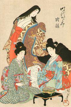 Youshuu Chikanobu (1838-1912) 楊洲周延 Mirrors of the Era 時代かがみ、1897 Women dressed in kimono, one of whom is wearing junihitoe .