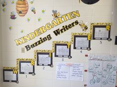 Kindergarten writing rubric for students to compare and score their own writing.