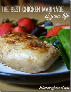Best Chicken Marinade of Your Life: Ingredients 1½ cup water 1½ cup malted vinegar (or plain vinegar is fine) 2 Tablespoons salt 1 Tablespoon pepper ¼ cup melted butter 1 t garlic 1½ Tablespoon worcestershire sauce 2 Tablespoons dried onion flakes 4 Chicken breasts