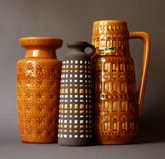 Mary Scheurich West German Pottery Okra Single Handled Vase Inka Dekor