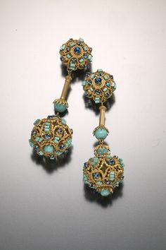 Haskell ear clips in pendant orb motif of simulated sapphires, turquoise and filigree gilt metal, signed Miriam Haskell, circa 1960s
